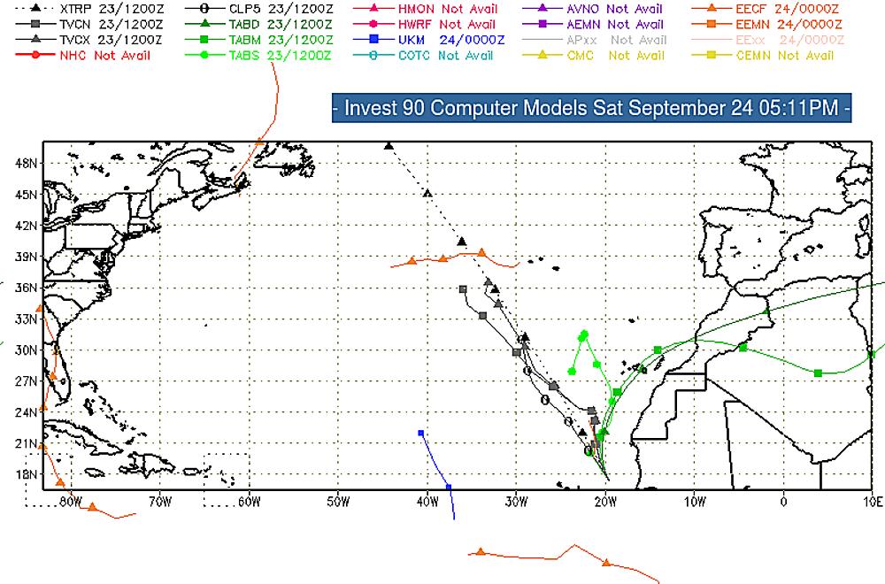 Invest 90 forecast track